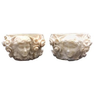 Pair of Art Nouveau Hand-Carved Alabaster Planters For Sale