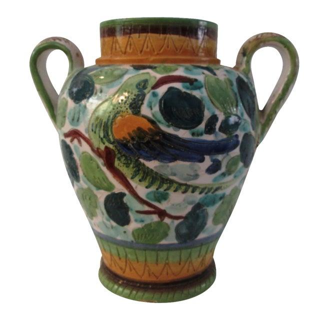 Italian Majolica Handled Vase - Image 1 of 9
