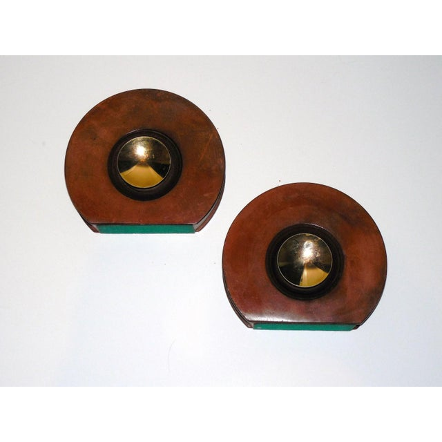 Modernist Round Leather & Brass Bookends - a Pair For Sale In Little Rock - Image 6 of 10