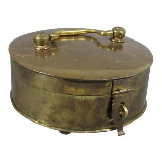 Brass Footed Box With Handle For Sale