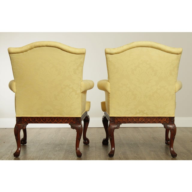 1990s Ardsley Hall Fine Chippendale Style Ball & Claw Mahogany Pair Library Armchairs For Sale - Image 5 of 13