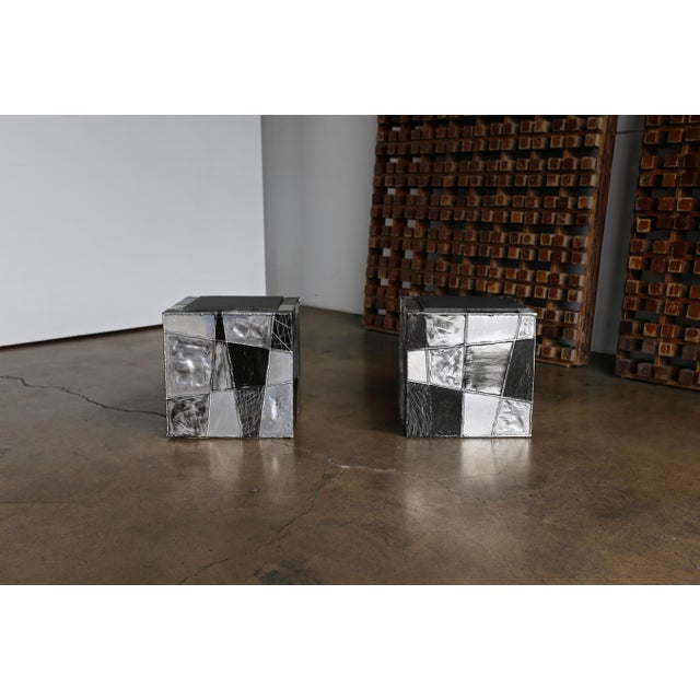 "Paul Evans PE37 ""Argente"" cube side tables. Each example is signed to the interior "" Paul Evans ""."