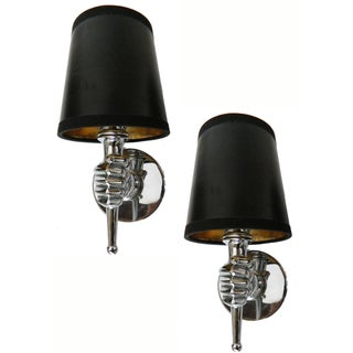 Andre Arbus French Nickel Plated Sconces - A Pair