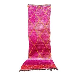 Vintage Moroccan Boujad Magenta Rug - 3′2″ × 11′2″ For Sale