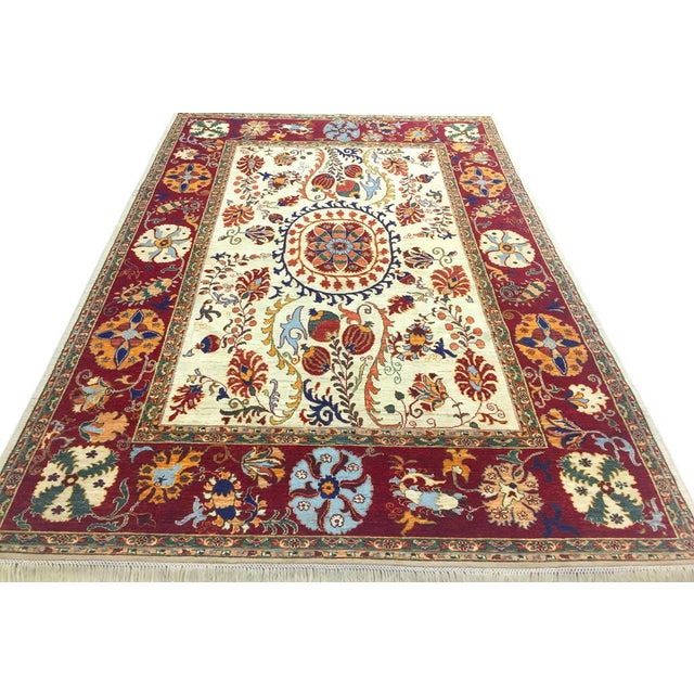 Kurjean Garish Herman Ivory/Red & Wool Rug 6'9 X 9'10 A8283 For Sale - Image 4 of 7