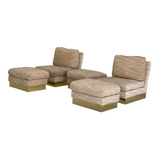 Pair of Roche Bobois Brass Based Upholstered Chairs and Ottomans For Sale