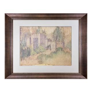"Frank Lloyd Wright Lithograph ""La Miniatura, Mrs. George Madison..House"" W/Frame For Sale"