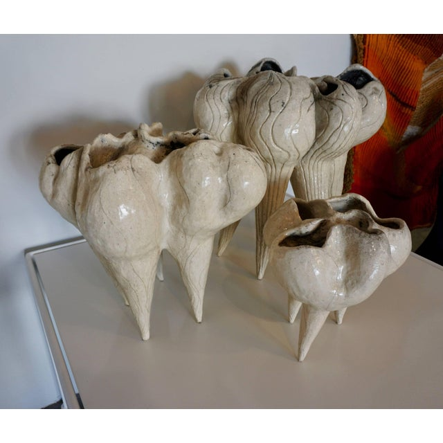 White Three Organic Ceramic Vessels by Valerie Blitz For Sale - Image 8 of 9
