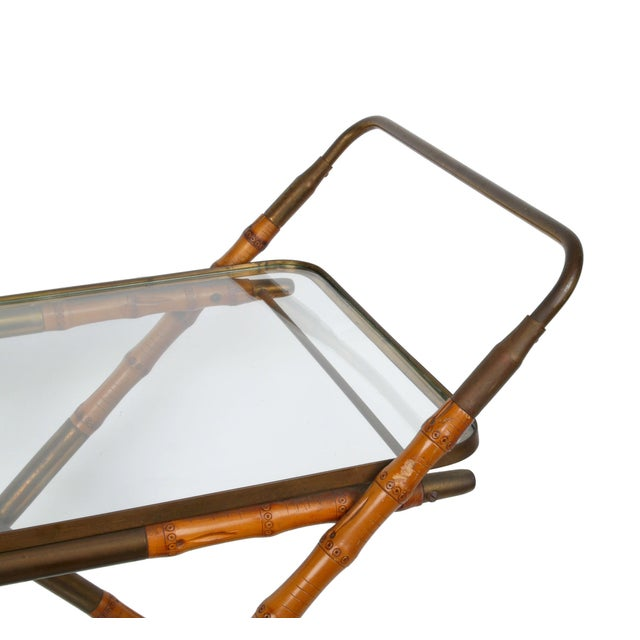 1950 Cesare Lacca Brass Serving Cart For Sale - Image 5 of 8