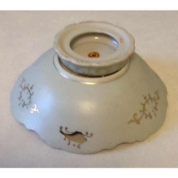 Mid 20th Century Vintage Lenwile-Ardalt Hand Painted Pale Blue With Gold Porcelain Bowl For Sale - Image 5 of 7