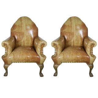 Pair of 19th Century Chippendale Style Leather Armchairs For Sale