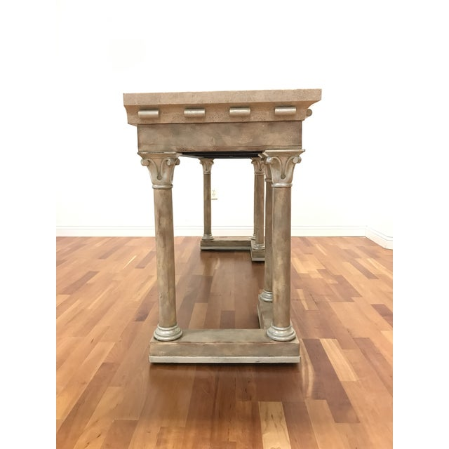 Late 20th Century 1970s Maitland-Smith Console Sofa Table Tessellated Neoclassical Fossil Stone and Marble For Sale - Image 5 of 10