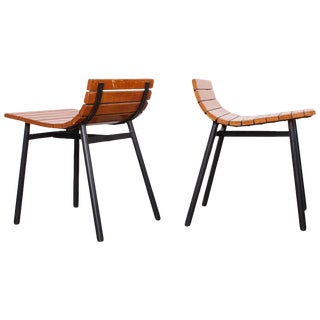 Pair of Slat Stools by Vista of California For Sale