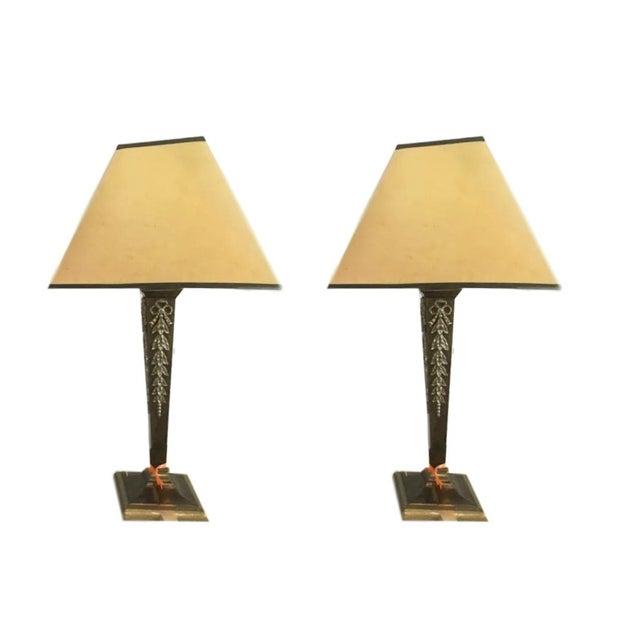 Brass & Steel French Table Lamps - Pair - Image 1 of 8