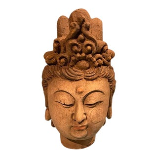 Antique Elm Wood Buddha Head For Sale