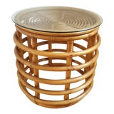 Image of 1980s Boho Chic Rattan Side Table For Sale