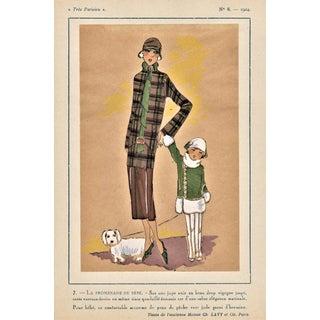Original French Art Deco 1920s Fashion Pochoir Print-Mother,Child, Dog For Sale