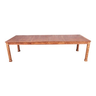 Baker Furniture French Empire Burl and Brass Extension Dining Table, Newly Restored For Sale