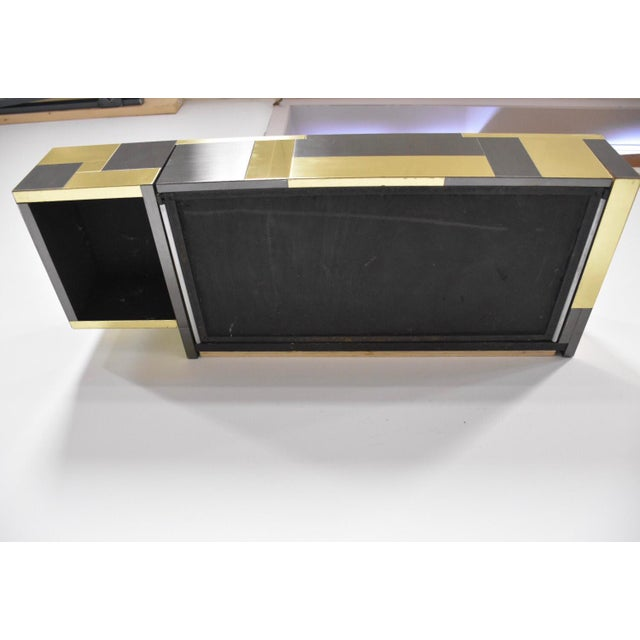 Metal Paul Evans Brass and Gunmetal Floating Console Shelf For Sale - Image 7 of 10