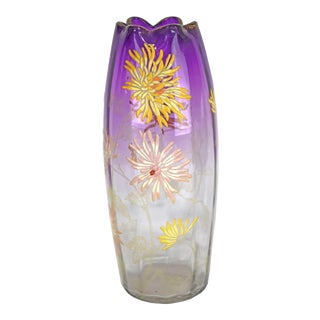Antique 1900s Legras Enameled Glass Vase With Chrysanthemums For Sale