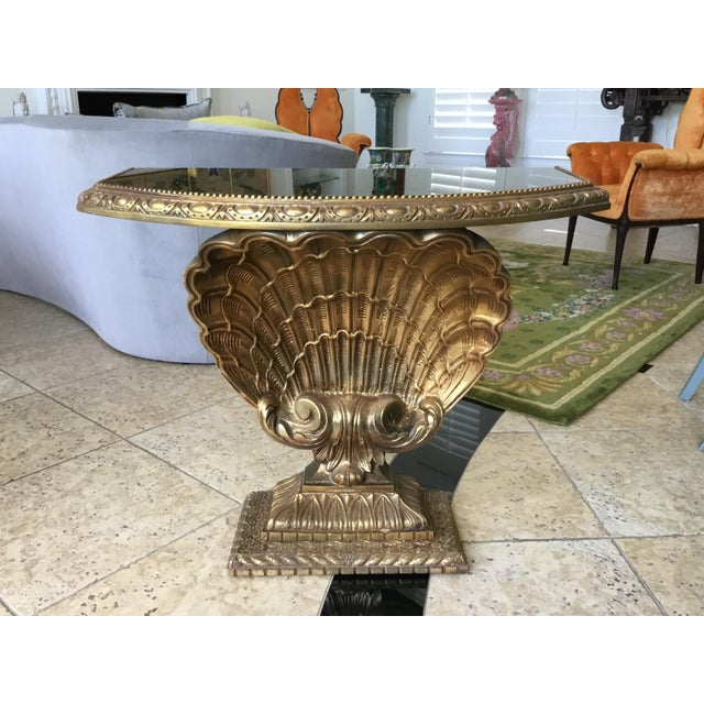 Antique Jansen Shell Base Gold and Glass Top Demilune Table For Sale In Dallas - Image 6 of 7