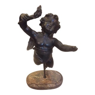 19th Century French Bronze Winged Angel Mounted Sculpture For Sale