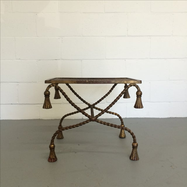 Vintage Gilt Metal Rope Bench - Image 3 of 6