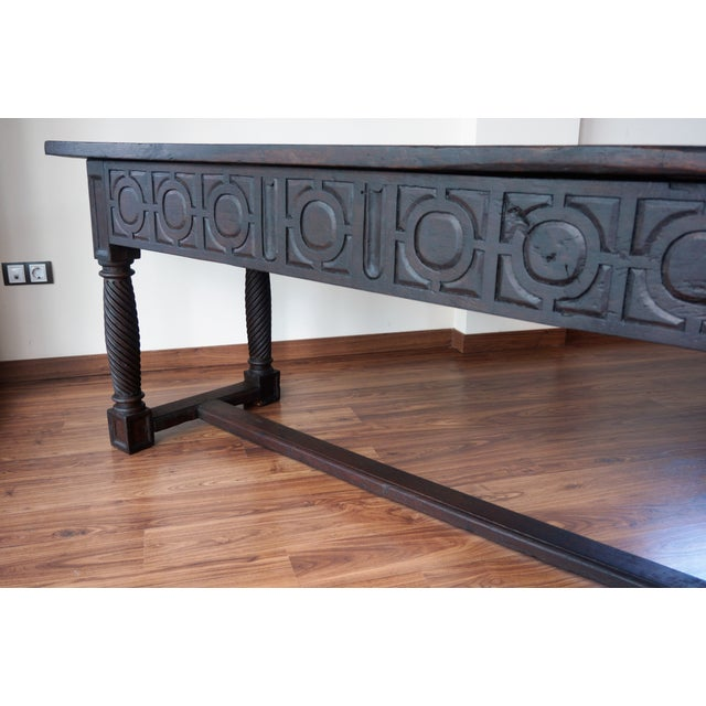Brown 18th Spanish Baroque Carved Walnut Refectory Table For Sale - Image 8 of 10