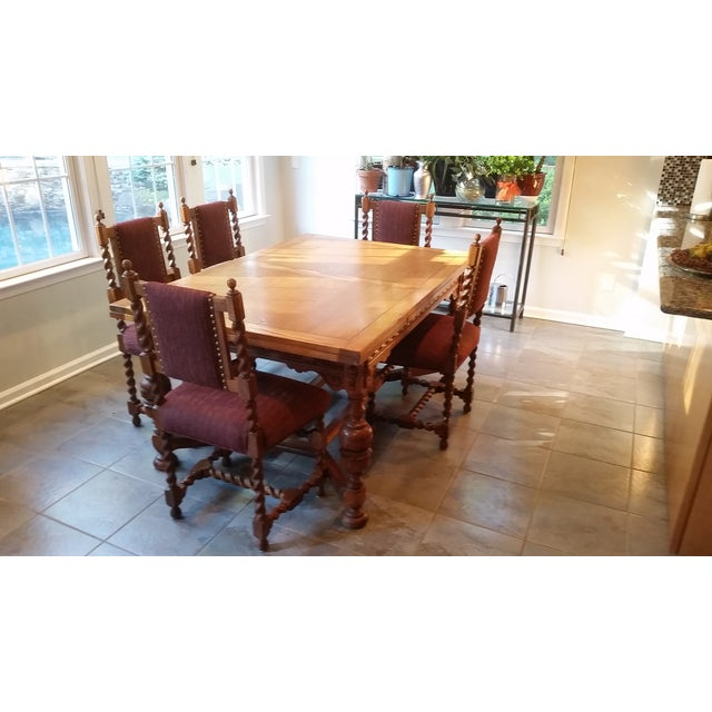 Antique Jacobean Revival Style Dining Set - Image 2 of 8