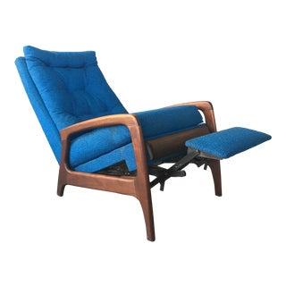 Adrian Pearsall Rare Mid-Century Walnut & Royal Blue Recliner