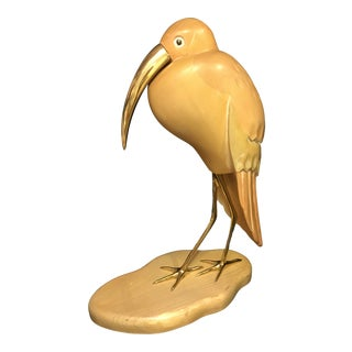 Mid-Century Modern Blonde Wood Ibis Sculpture With Brass Accents For Sale