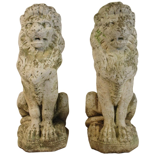Pair of 1940s Concrete Lions For Sale - Image 12 of 12