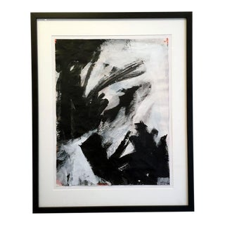 "Stephanie Cate ""Saturn 23"" Abstract Black and White and Red Painting on Paper For Sale"