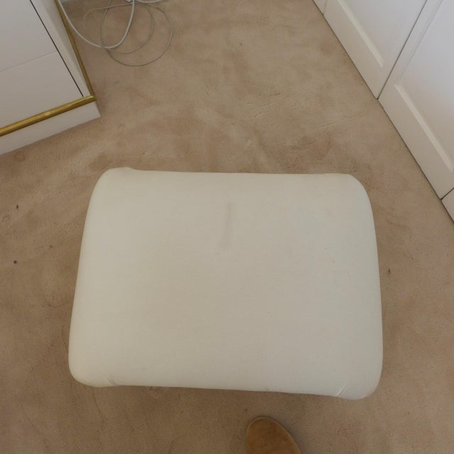 Dansen Mid-Century White Ottoman For Sale - Image 5 of 5