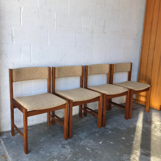 Set of Four Vintage Mid Century Danish Modern Style Upholstered Dining Chairs by D-Scan of Denmark. Feature a sleek teak...