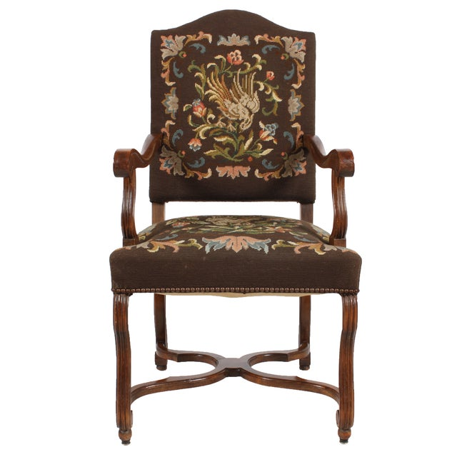 1920s Needlepoint Fauteuil Floral W/Bird For Sale