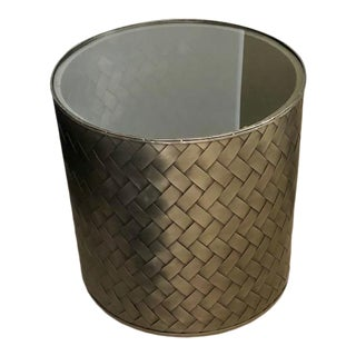 Patterned Metal End Table For Sale