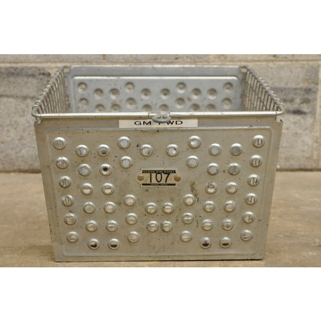 Vintage Kaspar Industrial Wire Works Metal Perforated Storage Gym Locker Basket For Sale - Image 12 of 12