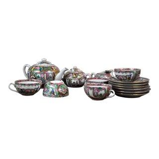 Vintage 1960's Chinese Style Porcelain Tea Set Probably European Artisanal For Sale