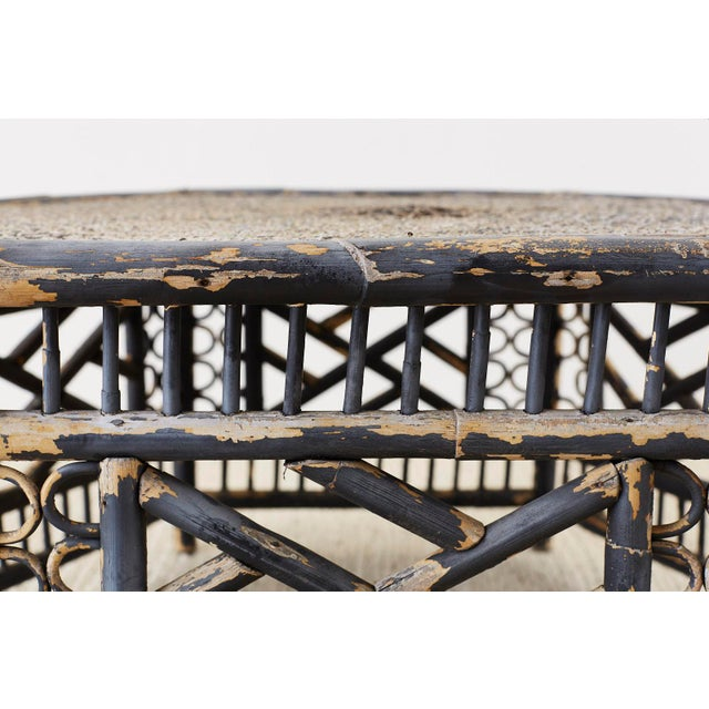 Black Hexagonal Bamboo Brighton Chinese Chippendale Cocktail Table For Sale - Image 8 of 13