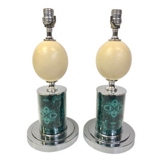 Ostrich Egg Lamps - a Pair For Sale