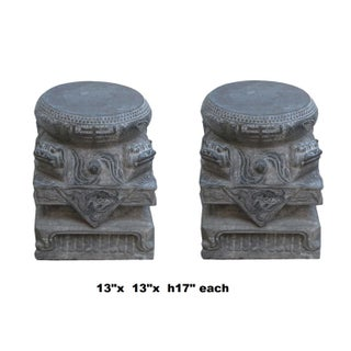 Pair Chinese Foo Dog Carving Stone Base Garden Stool Tables Preview