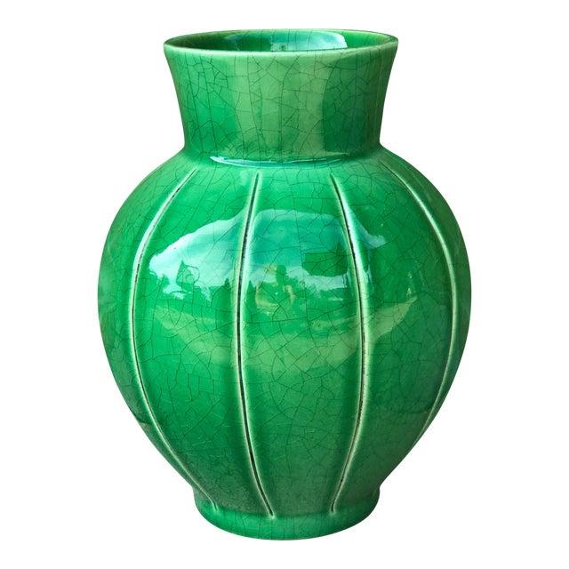 Boho Chic Emerald Green Crackle Glaze Ceramic Vase Chairish