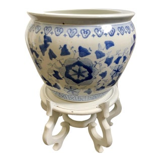 Blue & White Export Fish Bowl W/ Stand For Sale