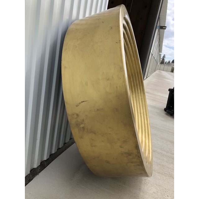 Contemporary Large Circular Gold Mirror For Sale - Image 3 of 6