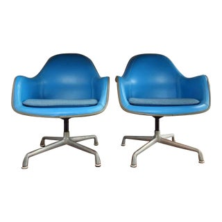 Eames Herman Miller Blue Lounge Chairs - A Pair