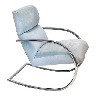 1970s Chrome Frame Teal Upholstered Rocker For Sale