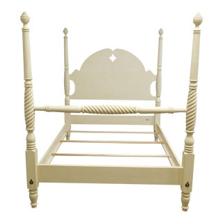 Ethan Allen Country Crossings Cream Painted Full Size Poster Bed For Sale