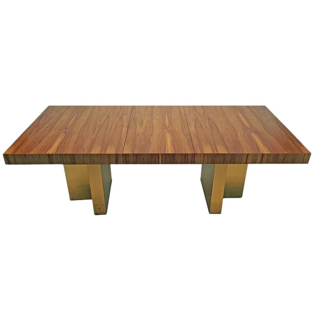 Milo Baughman Exotic Brazilian Rosewood and Brass Dining Table for Thayer Coggin For Sale