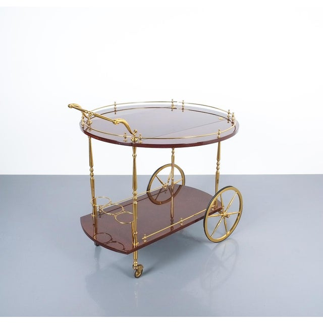 Gold Aldo Tura Adjustable Brown Parchment Brass Bar Cart, 1960 For Sale - Image 8 of 13